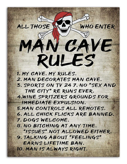 Posh Garage Signs - Man Cave Rules All Those Who Enter