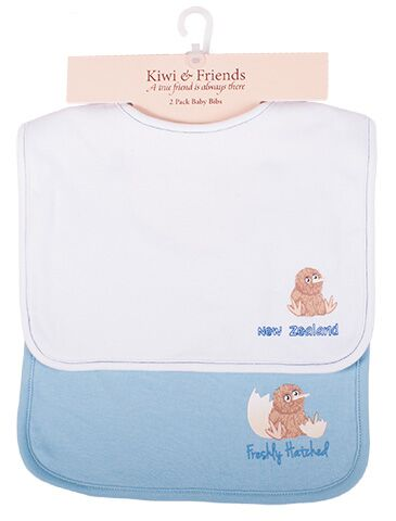 Kiwi & Friends - Baby Bibs 2pk Blue/White