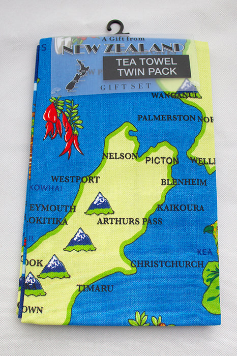 NZ Tea Towel - New Zealand Birds & Flowers Map 2 pack