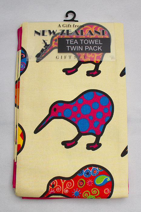 NZ Tea Towel - New Zealand Colourful Kiwis 2 pack