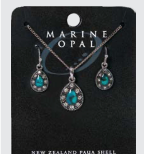 Marine Opal - Crystal Teardrop Set