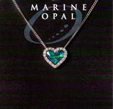 Marine Opal - Crystal Heart Moving Pendant