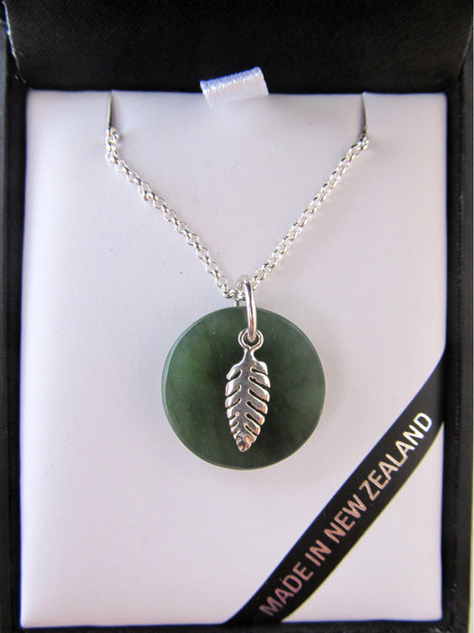 Mana NZ - Sterling Silver Fern with Round Greenstone Pendant GS1101