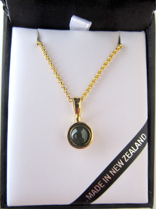 Mana NZ - Small Gold Round Greenstone Pendant