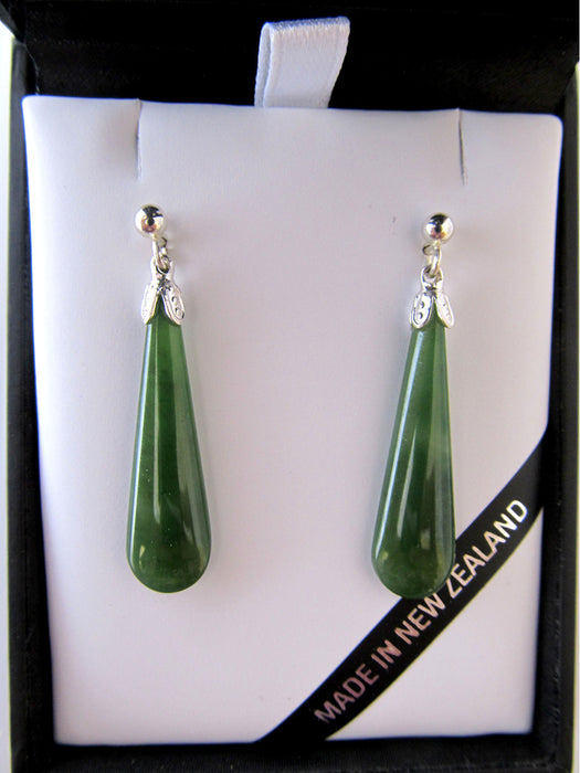 Mana NZ - Greenstone Drop Earrings JE201S