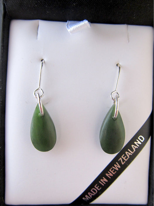 Mana NZ - Stg Silver & Greenstone Drop Earrings JE220