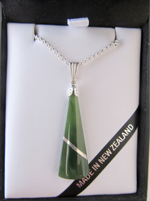 Mana NZ - Greenstone Wedge Pendant JI302