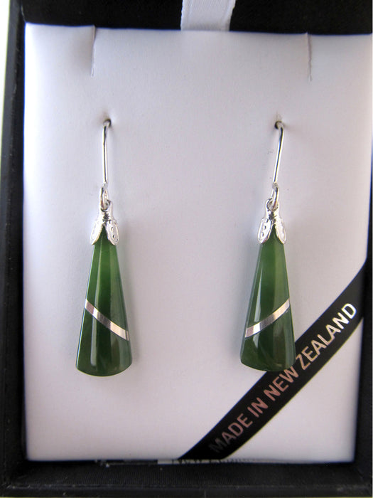 Mana NZ - Greenstone Wedge Earrings JIE402
