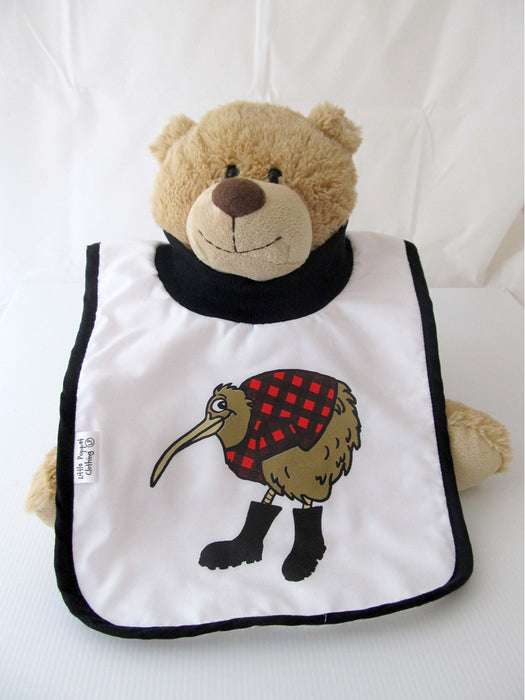 Little Poppet - Babies Bib Kiwi in Red with Gumboots