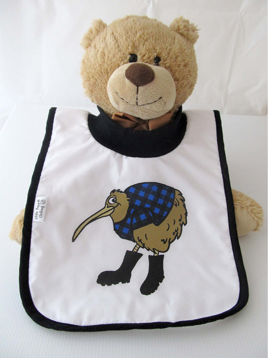 Little Poppet - Babies Bib Kiwi in Blue with Gumboots