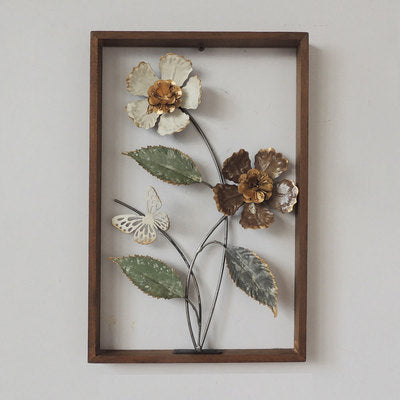 Wall Art: Flower and Butterfly in Wood Frame