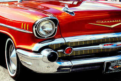Wall Art - Red Chevrolet Print on Glass