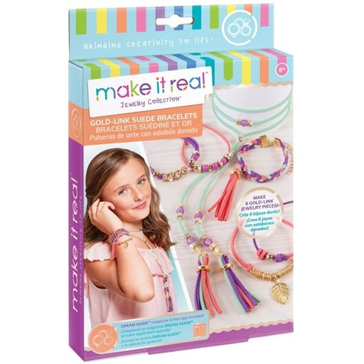 Make it Real - Jewelry Collection - Gold-Link Suede Bracelets