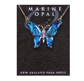 Marine Opal - Large Blue Butterfly Necklace