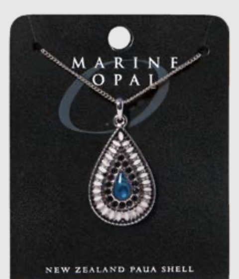 Marine Opal - Black & White Indian Teardrop Necklace