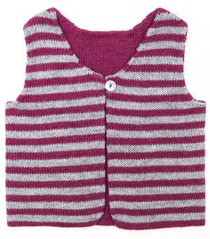 Woodpecker Vest / Dark Pink - Grey
