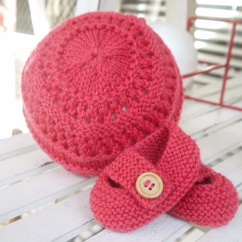 Beanie - Bootie Set in Rose Pink