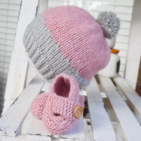 Beanie - Bootie Set in Pink/Grey