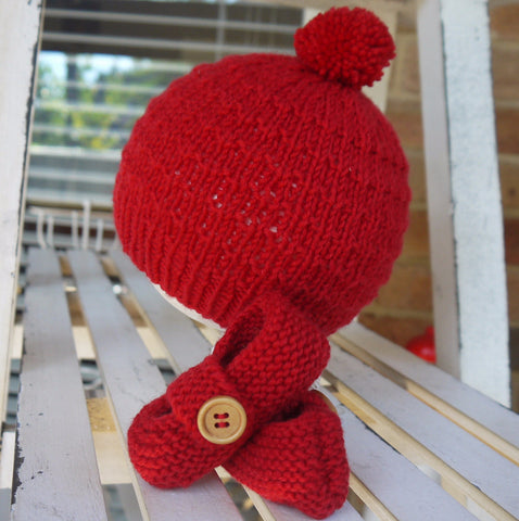 Beanie - Bootie Set in Cherry Red