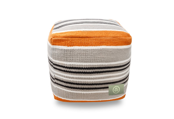 The Earth Company - 100% Hand Woven Cotton Ottoman, Marigold Orange