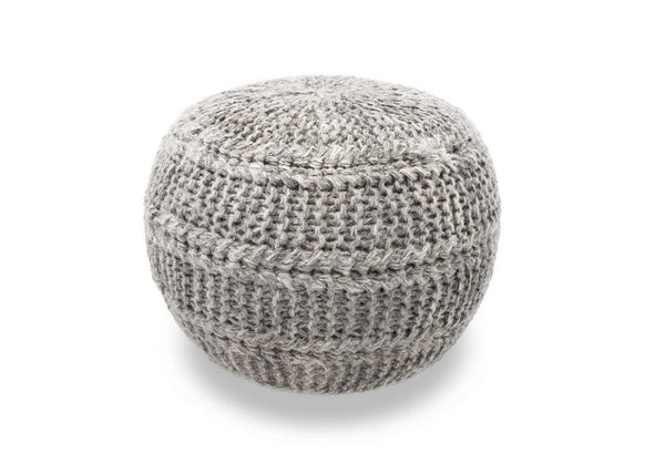 The Earth Company  - Hand Knitted Wool Pouf, Gray