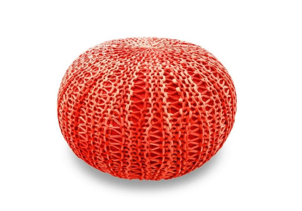 The Earth Company - 100% Cotton Pouf, Anardana Red