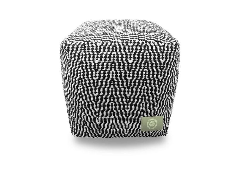 The Earth Company - 100% Hand Woven Cotton Ottoman, Beige and Black
