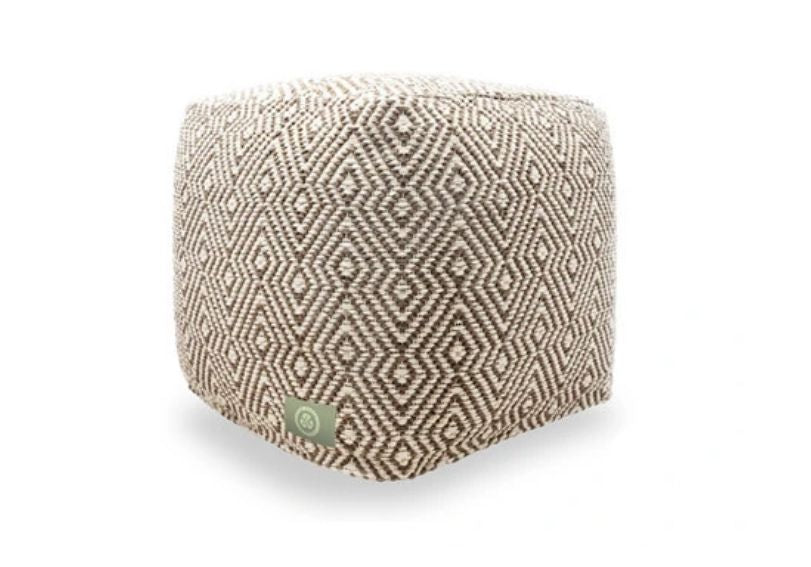 The Earth Company - 100% Hand Woven Cotton Ottoman, Ivory