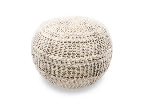 The Earth Company - Hand Knitted Wool Pouf, Ivory
