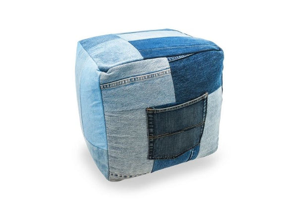 The Earth Company - Hand-Patched 100% Recycled Denim Ottoman