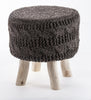 The Earth Company - 100% Hand Knitted Wool Stool, Natural Charcoal