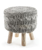 The Earth Company - 100% Hand Knitted Wool Stool, Natural Gray