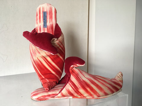 Orange and red striped velvet slipper