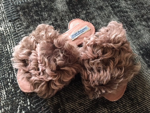 Antique Pink Curly Sheepskin mules/Sliders