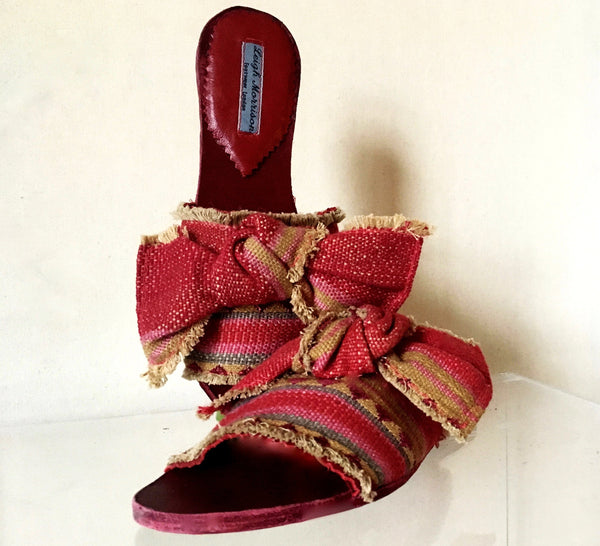 Moroccan striped sandal with bow pink grey