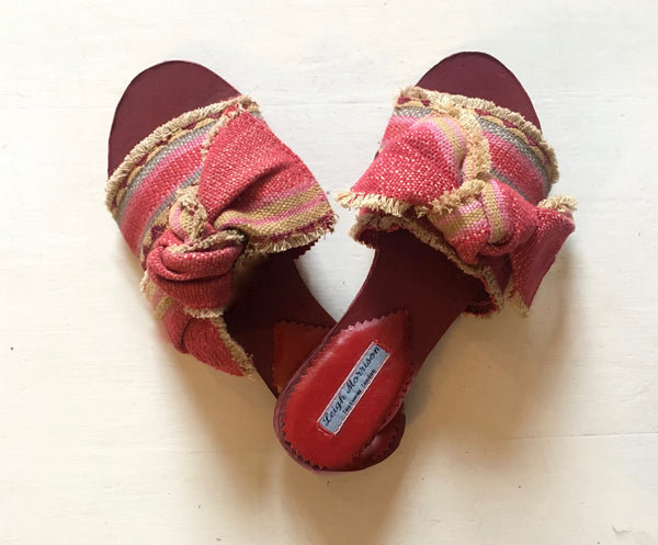 Moroccan carpet stripe with Bow Pink and Grey Sandals/Sliders