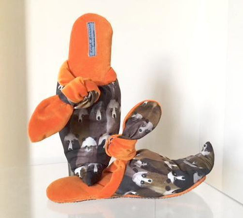 Holly Frean Illustrated Fabric Babouche Slippers..Brown bears with Orange Lining