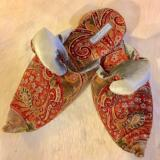 Mens/Womens Velvet Paisley Pattern slippers