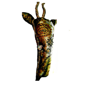Faux Taxidermy Textile Antelope Head Trophy gold