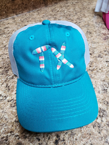 Aqua/Gray TX ladies fit hat - multi colored thread