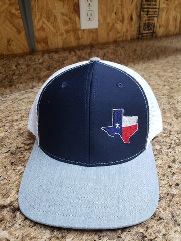 Richardson 112 - Navy/White with gray bill and Texas embroidery on lower left panel