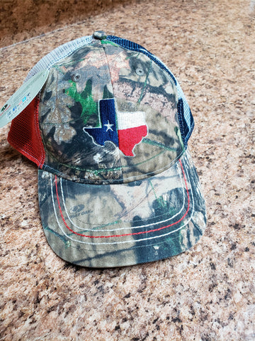 Texas mens camo hat - Texas Embroidered front and center