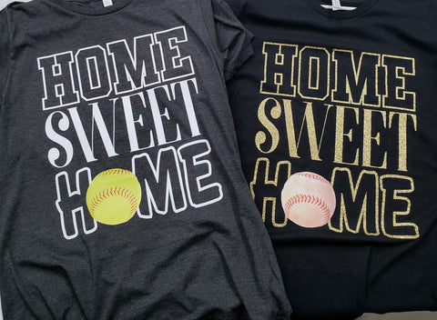 Home Sweet Home Baseball/Softball Shirt - Bella+Canvas