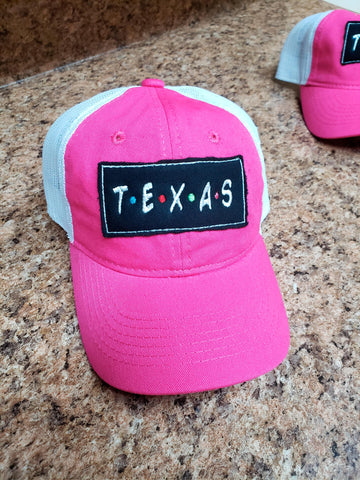 Black soft patch TEXAS ladies fit hat - bright pink and white