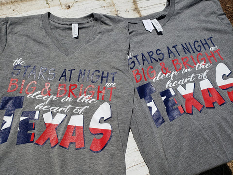 """The Stars at Night"" Texas flag shirt - Bella Canvas!"