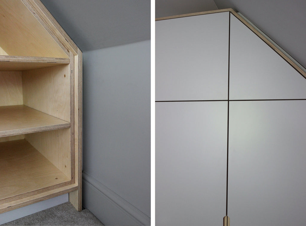 Bespoke fitted plywood wardrobe with laminate door fronts. Designed and made by Jon Grant London.