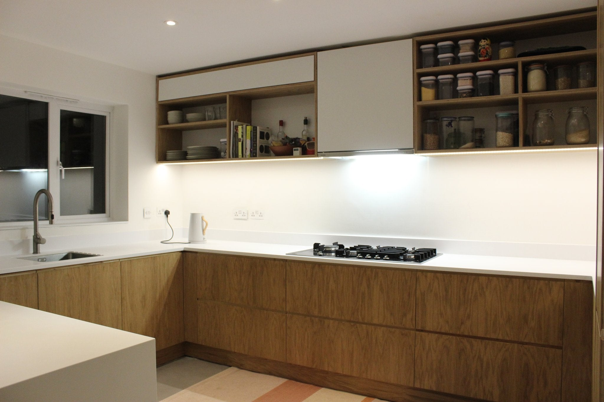 Bespoke plywood & oak kitchen made by Jon Grant London in Leyton.