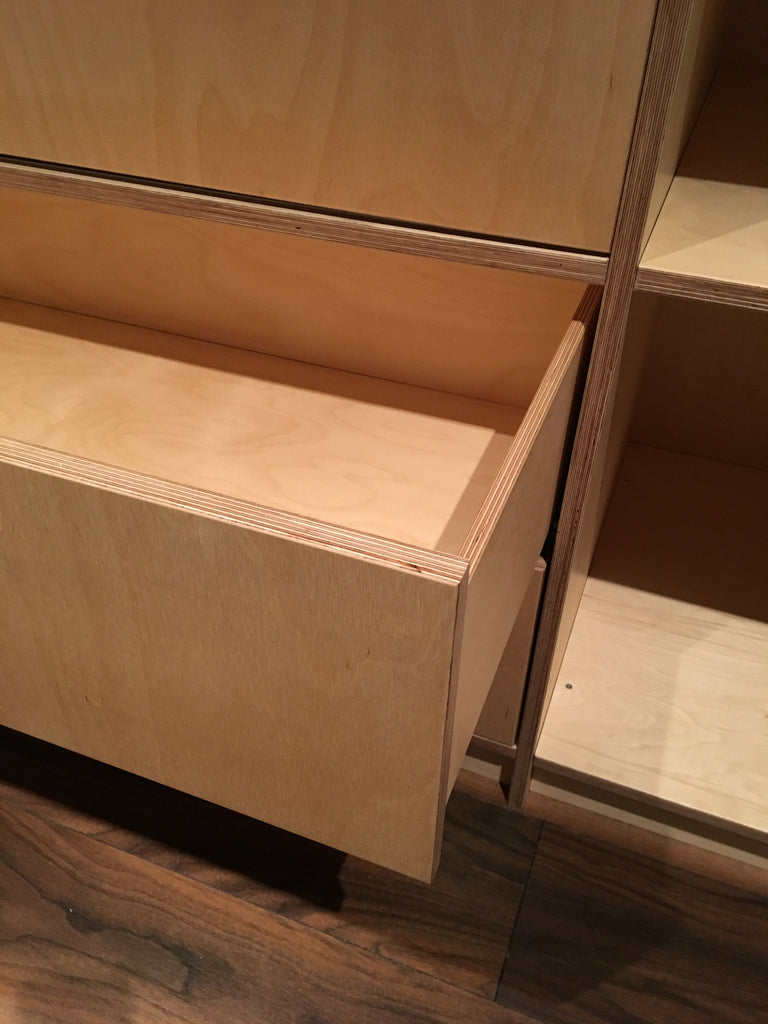 Completely bespoke plywood drawers made by Jon Grant London.