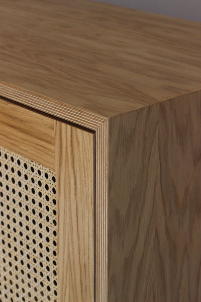 Handmade rattan cane cabinet in oak veneer plywood. Designed and made by Jon Grant London in Leyton, East London.