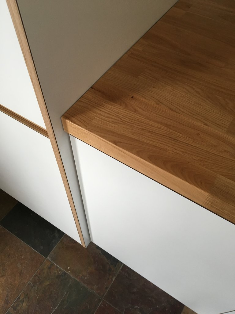 Bespoke plywood kitchen with solid oak worktop made by Jon Grant London in East LondonBespoke plywood kitchen with solid oak worktop made by Jon Grant London in East London